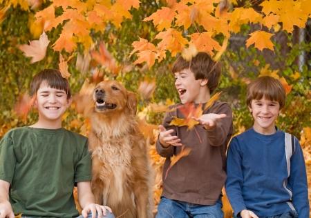 Boys in the Fall Leaves Standard-Bild - 5807406