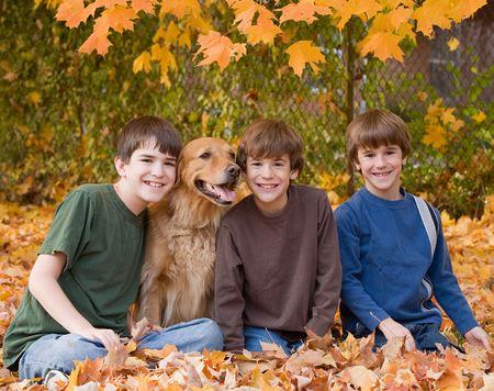 hermanos jugando: Los ni�os en las hojas se caen Foto de archivo