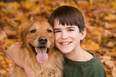 Teenager with Golden Retriever Stock Photo - 5807402