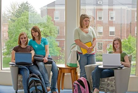 Four College Students Studying