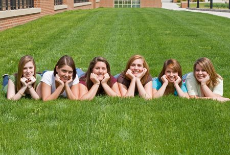 Group of College Girls at School photo