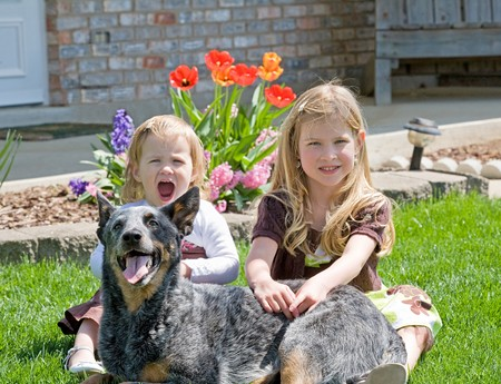 Sisters Sitting With Their Dog in Front of Their House