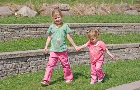 Sisters Walking in the Park Stock Photo - 7447817