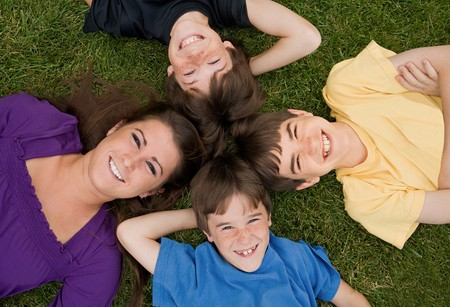 Four Brothers and  Sisters Smiling photo