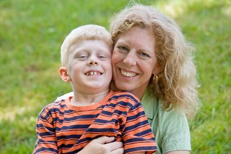 Mother and Son Smiling Big Banco de Imagens