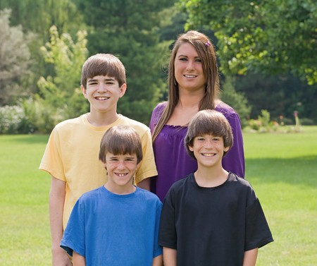 Four Brothers and  Sisters Smiling Stock Photo - 7542898