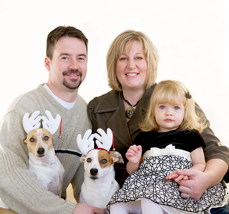 Happy Family at Christmas Banque d'images