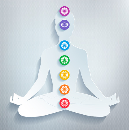 meditation man: Meditation and chakras. Vector illustration.