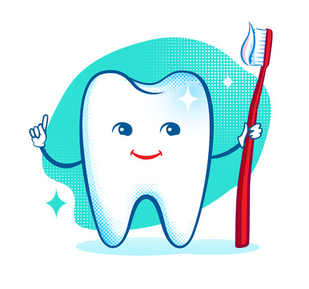 brushing teeth: Cute healthy white shiny tooth character. Vector illustration. Isolated.