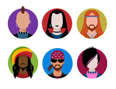 punk hair: Male characters avatars. Vector set.