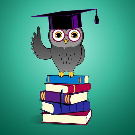 buho graduacion: Ilustraci�n del vector del b�ho que se sienta en los libros.