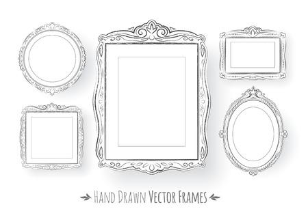 Hand drawn vintage baroque frames set.