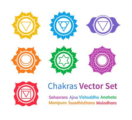 symbol: Vector set di chakra colorati