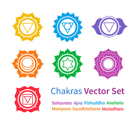 muladhara: Vector set of colorful chakras
