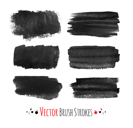 watercolor smear: Black hand drawn brush strokes. Vector set. Illustration