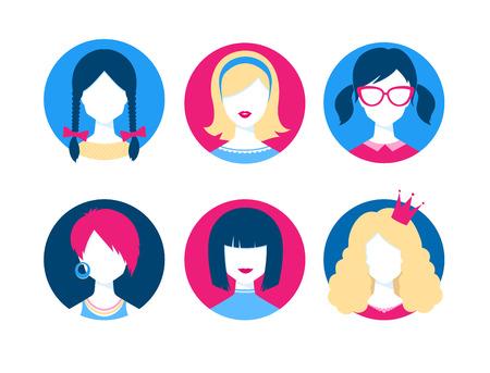 nerd glasses: Vector set of cute female avatars. Illustration