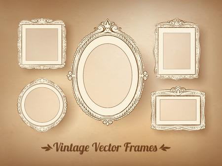 lineas decorativas: Barroco de la vendimia enmarca vector conjunto.