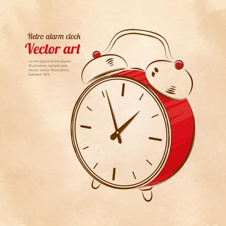 Vector illustration of vintage alarm clock. Vector