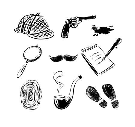 Boceto Detective iconos conjunto de vectores estilo retro. Aislados. Ilustración de vector