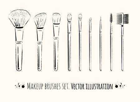 Makeup brushes kit.  Hand drawn vector set. Illustration