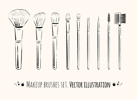 Makeup brushes kit.  Hand drawn vector set. Illustration