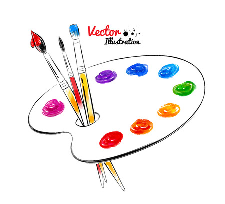 graphic artist: Paint palette. Hand drawn watercolor and line art. Vector illustration. isolated.