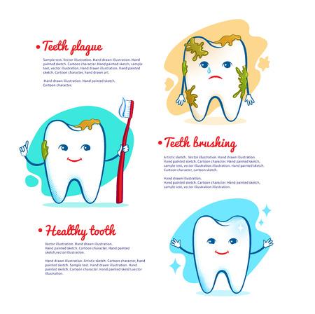Vector illustration of teeth brushing concept.