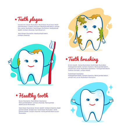 diente caricatura: Ilustración vectorial de cepillarse los dientes concepto. Vectores