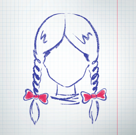 pigtails: Female avatar with pigtails and bows. Vector sketch. Illustration