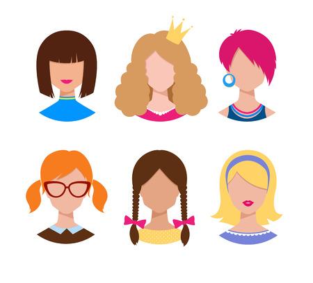 braids: Hand drawn set of female avatars.