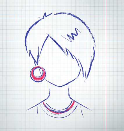 earring: Female avatar with earring. Vector sketch drawn on checkered school paper.