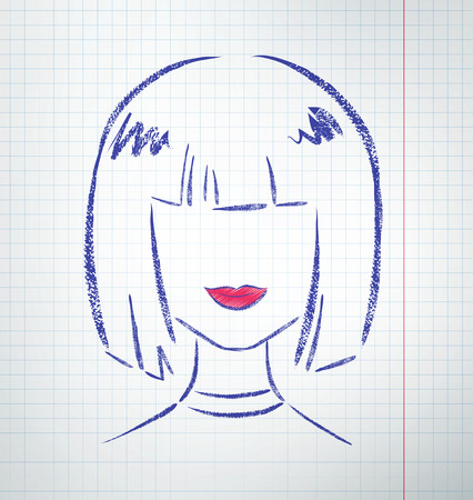 abstract portrait: Female avatar drawn on checkered school notebook paper. Vector illustration.