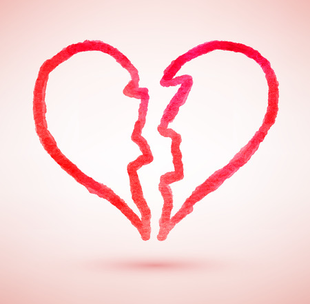 Hand drawn vector illustration of broken heart.