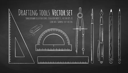arquitecto: Dibujo Pizarra de herramientas de dibujo. Vectores