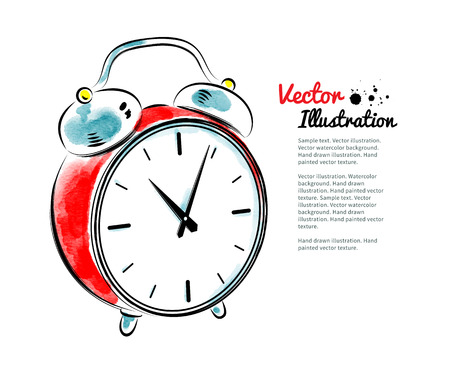 Watercolor illustration of alarm clock. Vectores