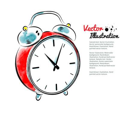 clock cartoon: Watercolor illustration of alarm clock. Illustration