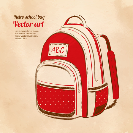 oldened: School bag on vintage background. Vector illustration.