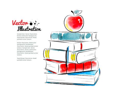 dibujo: Manzana roja en los libros. Vector ilustraci�n de la acuarela.