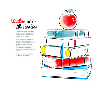 book background: Red apple on books. Vector watercolor illustration.
