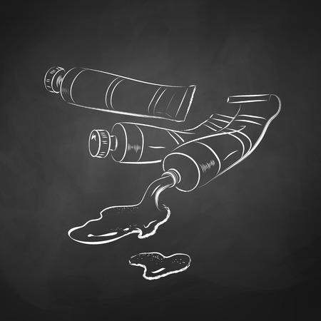 Chalk drawn illustration of paint tubes. Vector