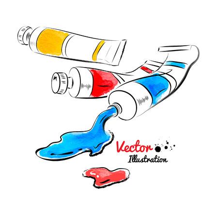 gouache: Paint tubes and oil paint. Watercolor and line art. Illustration