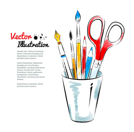 office supplies: Brushes, pen, pencils and scissors in holder. Hand drawn watercolor and line art. Illustration