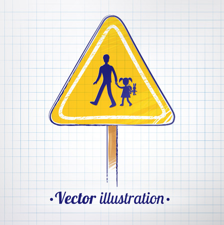 School warning sign on checkered notebook background. Vector illustration. Vector