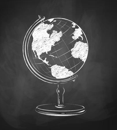 geografia: Globo dibuja en fondo de pizarra.