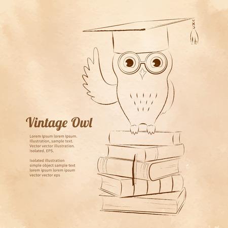 Vintage vector illustration of owl sitting on books. Education symbol. Vector