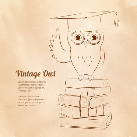 oldened: Vintage vector illustration of owl sitting on books. Education symbol. Illustration