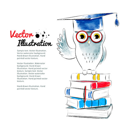 hand drawn cartoon: Owl sitting on books. Watercolor vector illustration.