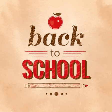oldened: Back to School vintage typographical background. Illustration