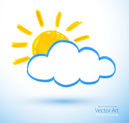 Felt pen childlike drawing of sun and cloud. Vector