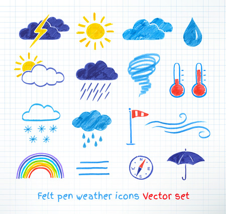 Felt pen childlike drawing of weather icons, vector set.